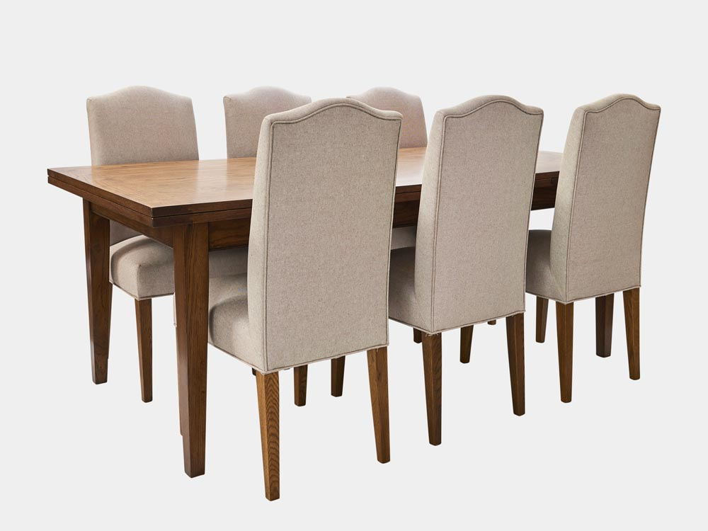 French Accent French Country Provence extendable Dining Table in oak 200cm 8 chairs