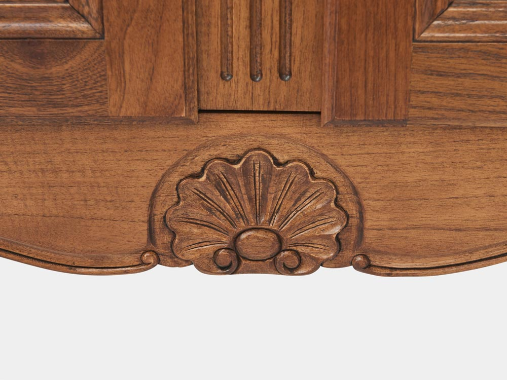 French Accent French Louis XV style 2-tier bookcase or buffet in solid walnut detail clam