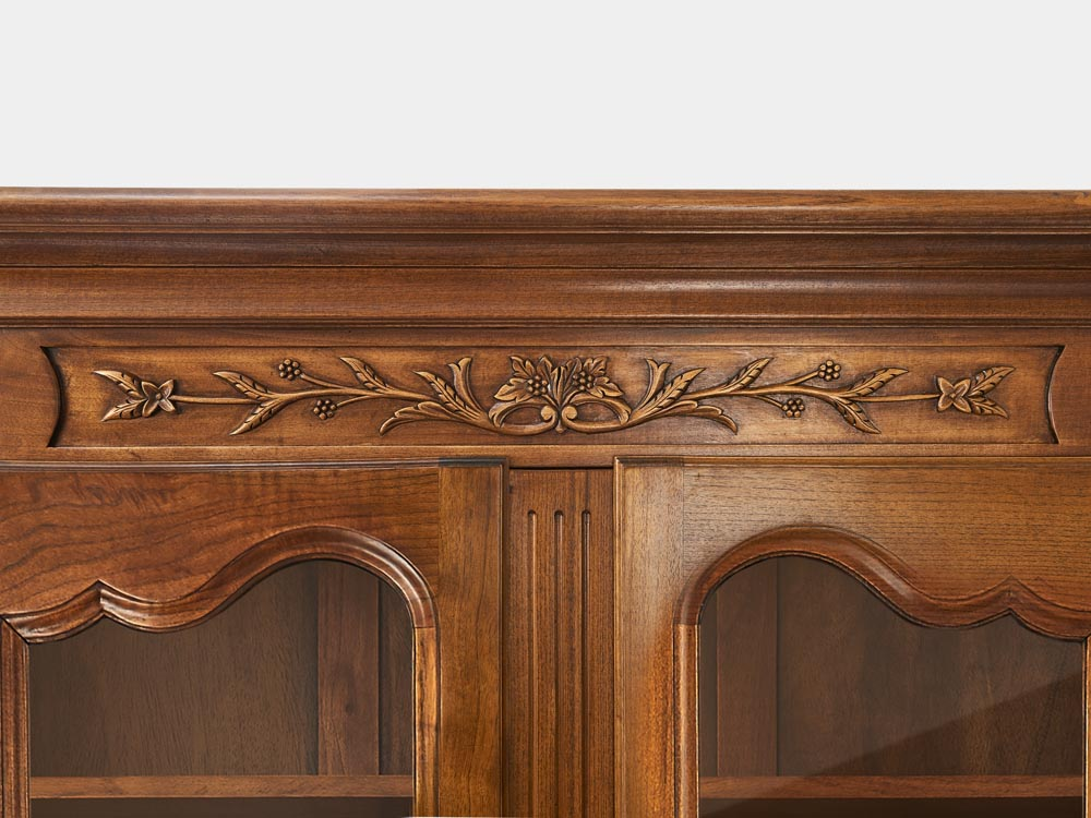 French Accent French Louis XV style 2-tier bookcase or buffet in solid walnut detail flowers