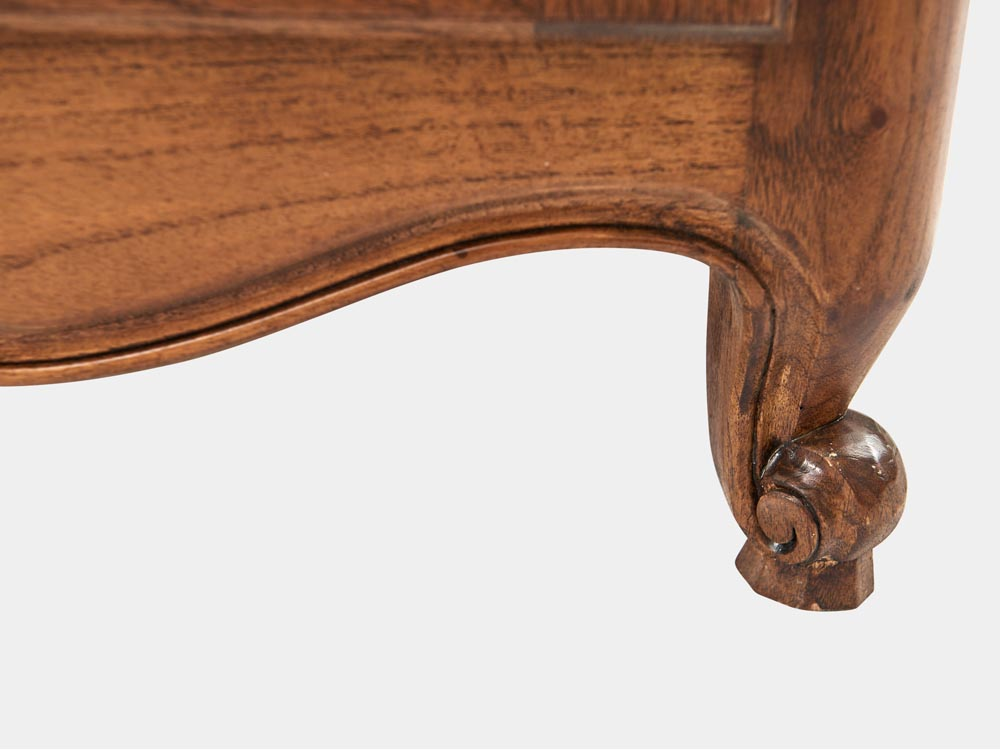 French Accent French Louis XV style 2-tier bookcase or buffet in solid walnut detail foot