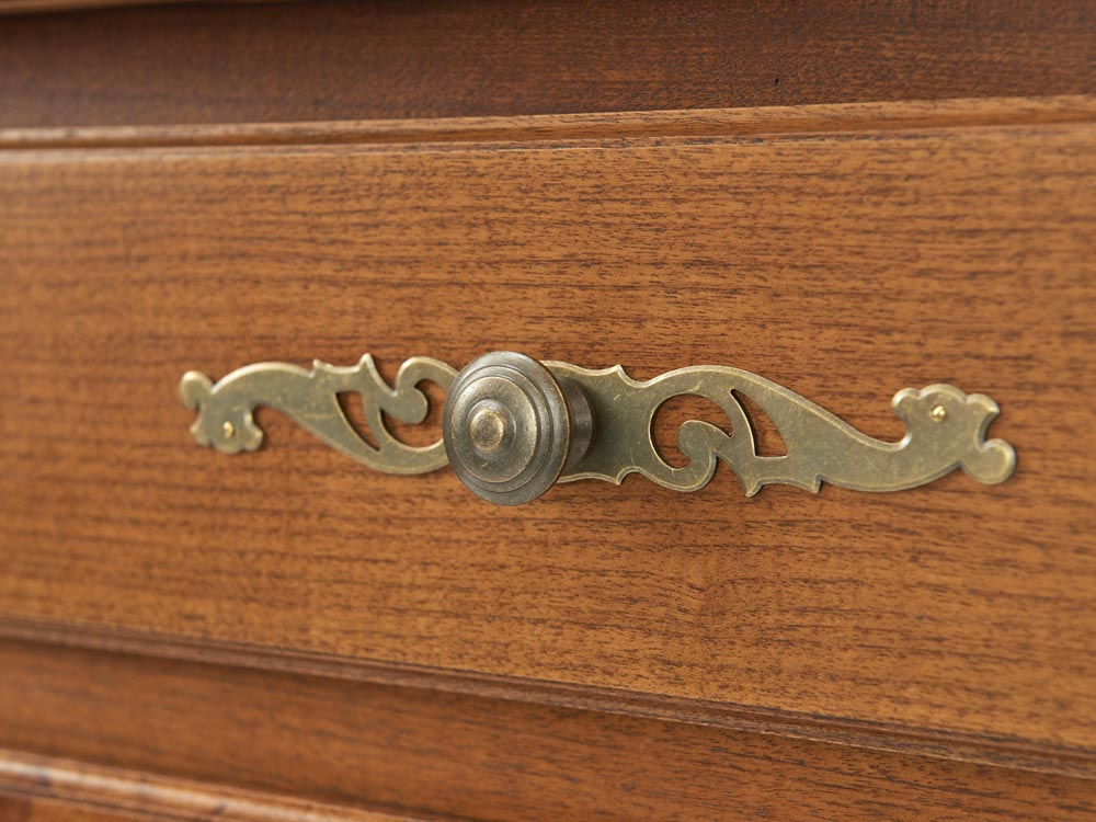 French Accent French Louis XV style 2-tier bookcase or buffet in solid walnut detail handle