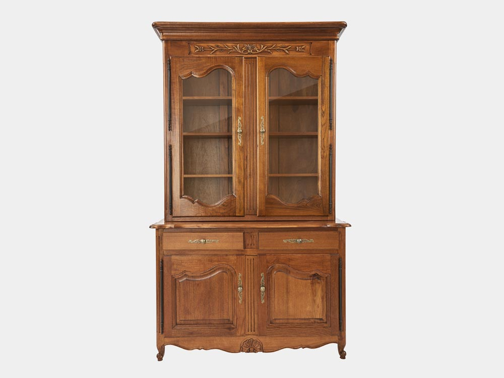French Accent French Louis XV style 2-tier bookcase or buffet in solid walnut front