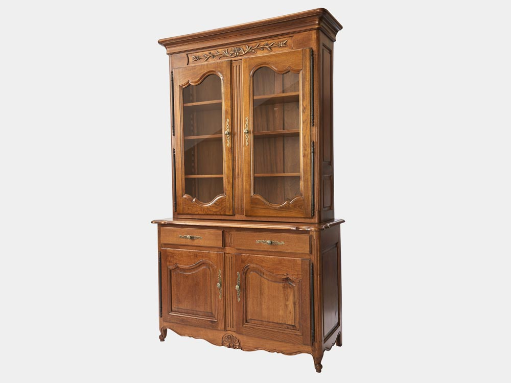 French Accent French Louis XV style 2-tier bookcase or buffet in solid walnut side 45