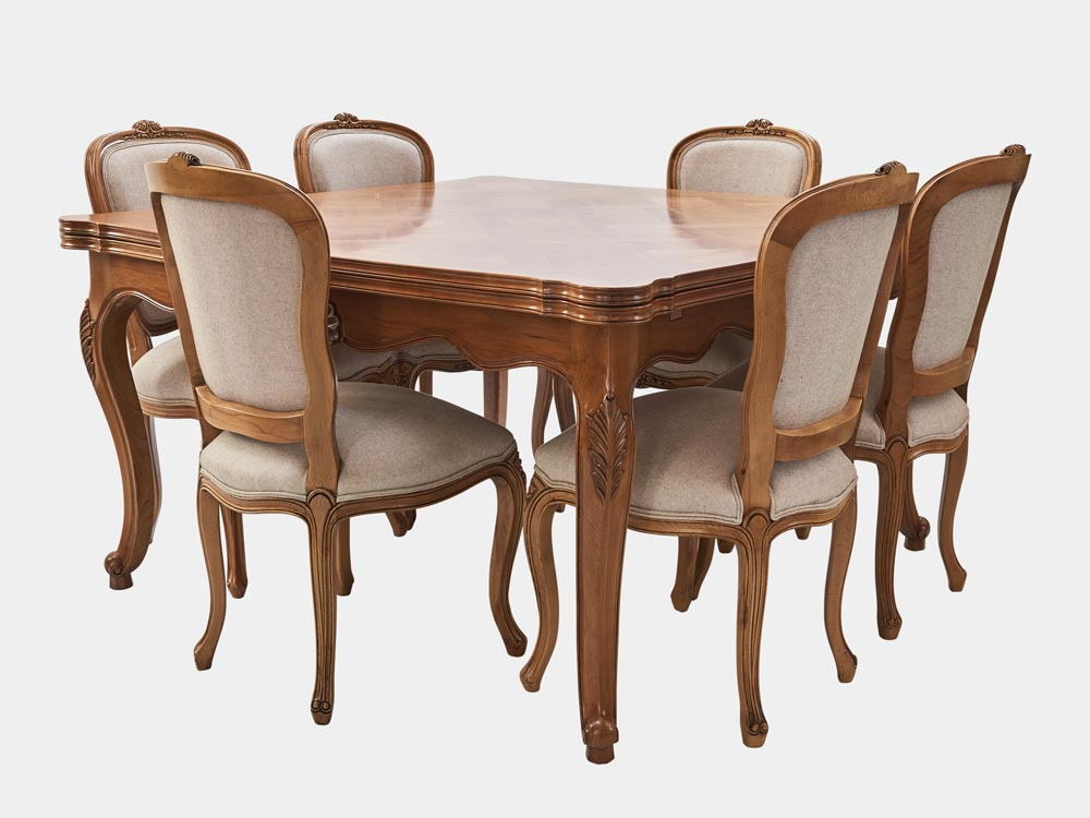 French Accent French Louis XV style extension dining table light cherry wood 140 4 chairs