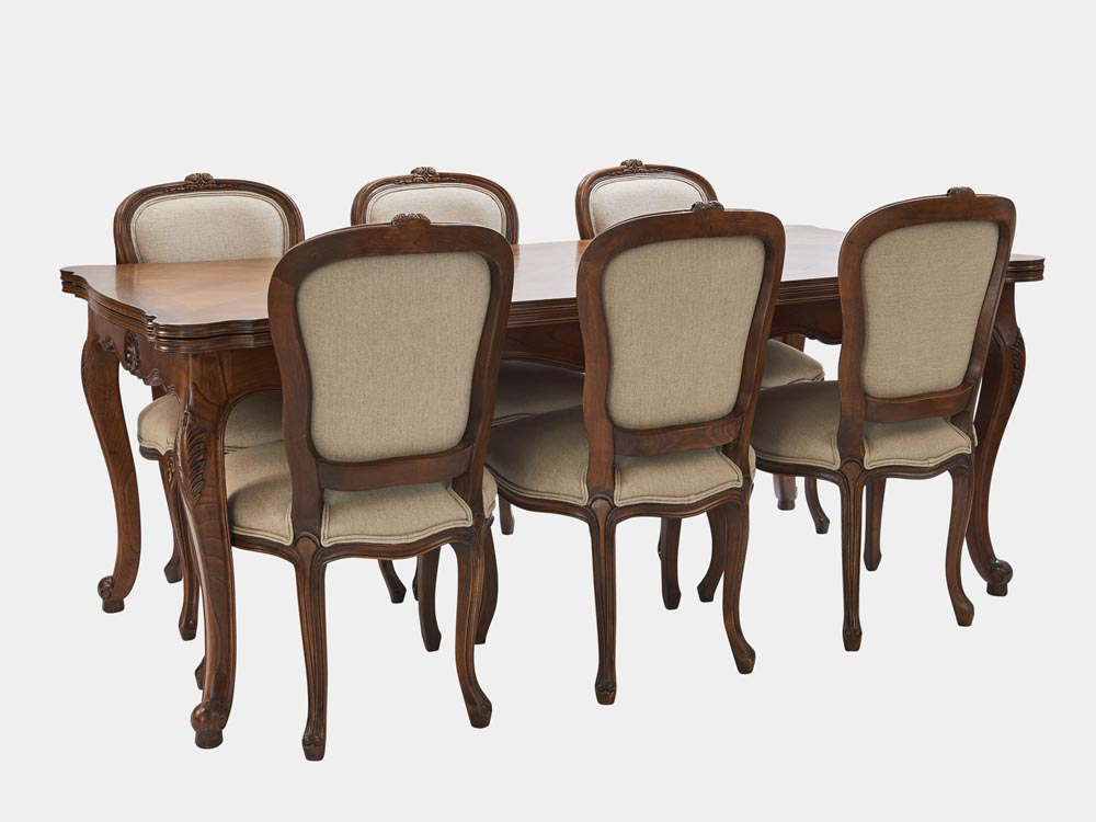 French Accent French Louis XV style extension dining table walnut 6 chairs 350