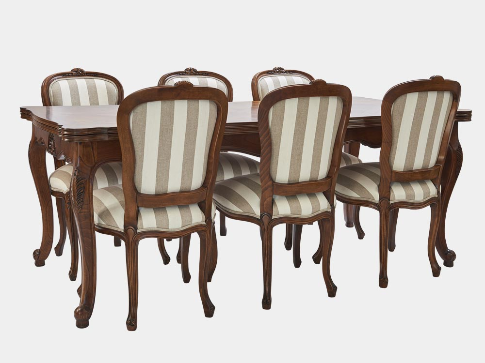 French Accent French Louis XV style extension dining table walnut 6 striped chairs 350