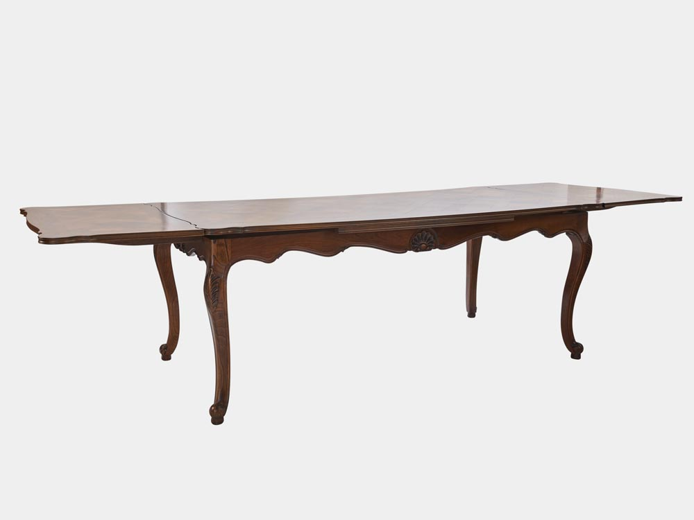French louis xv style large extension dining table for Styling a dining table