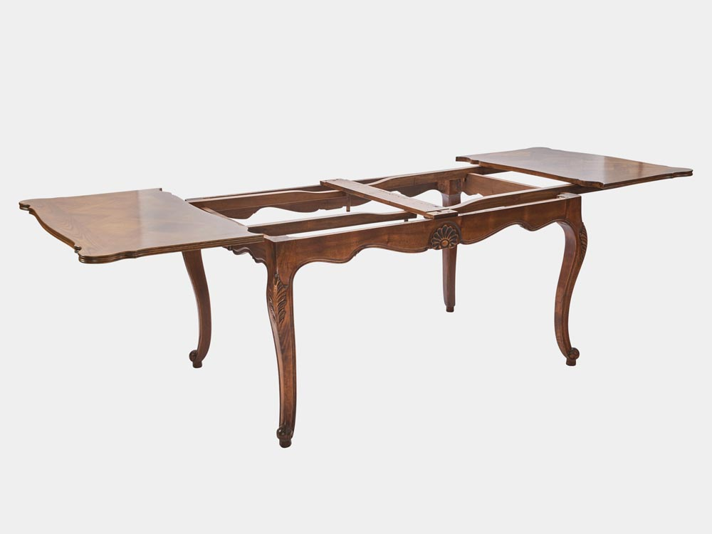 French Accent French Louis XV style extension dining table walnut extended