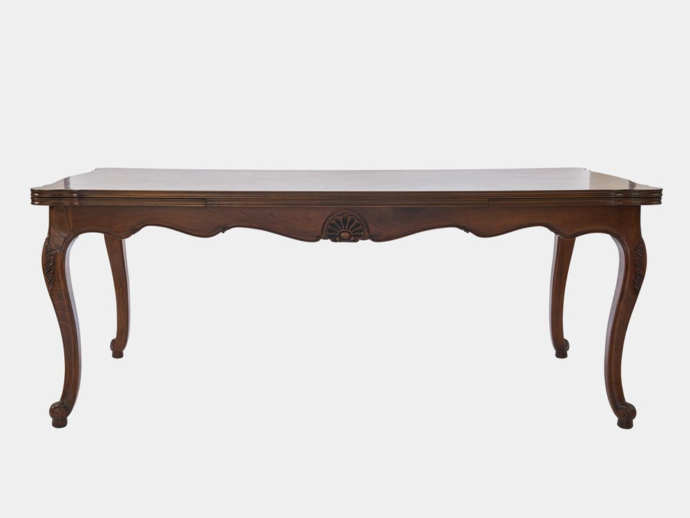 French Accent French Louis XV style extension dining table walnut front 310cm