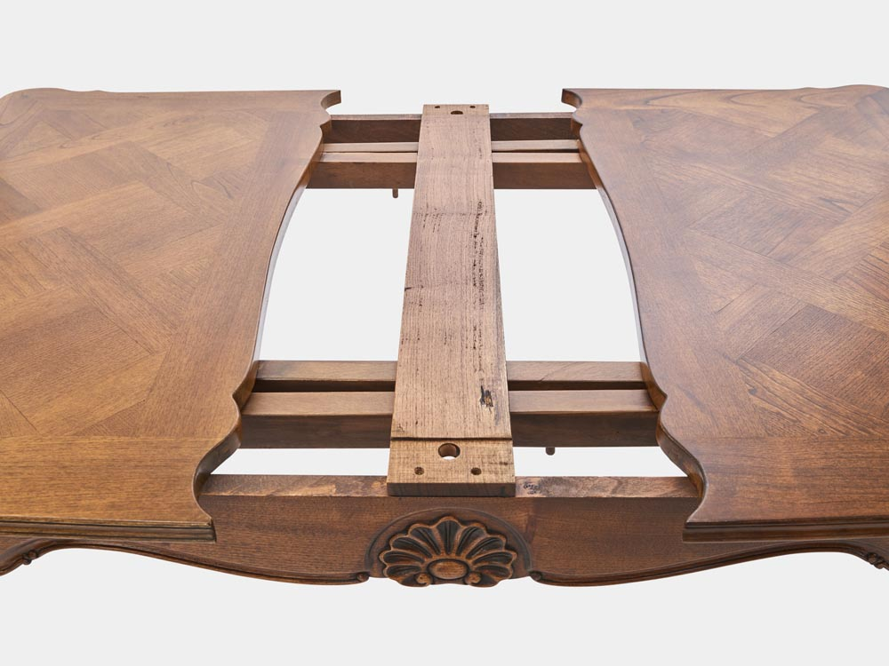 French Accent French Louis XV style extension dining table walnut opening