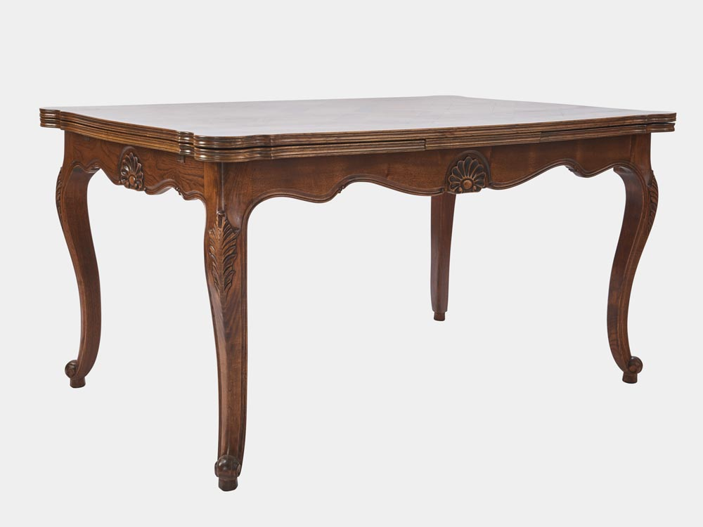 French Accent French Louis XV style extension dining table walnut side 45