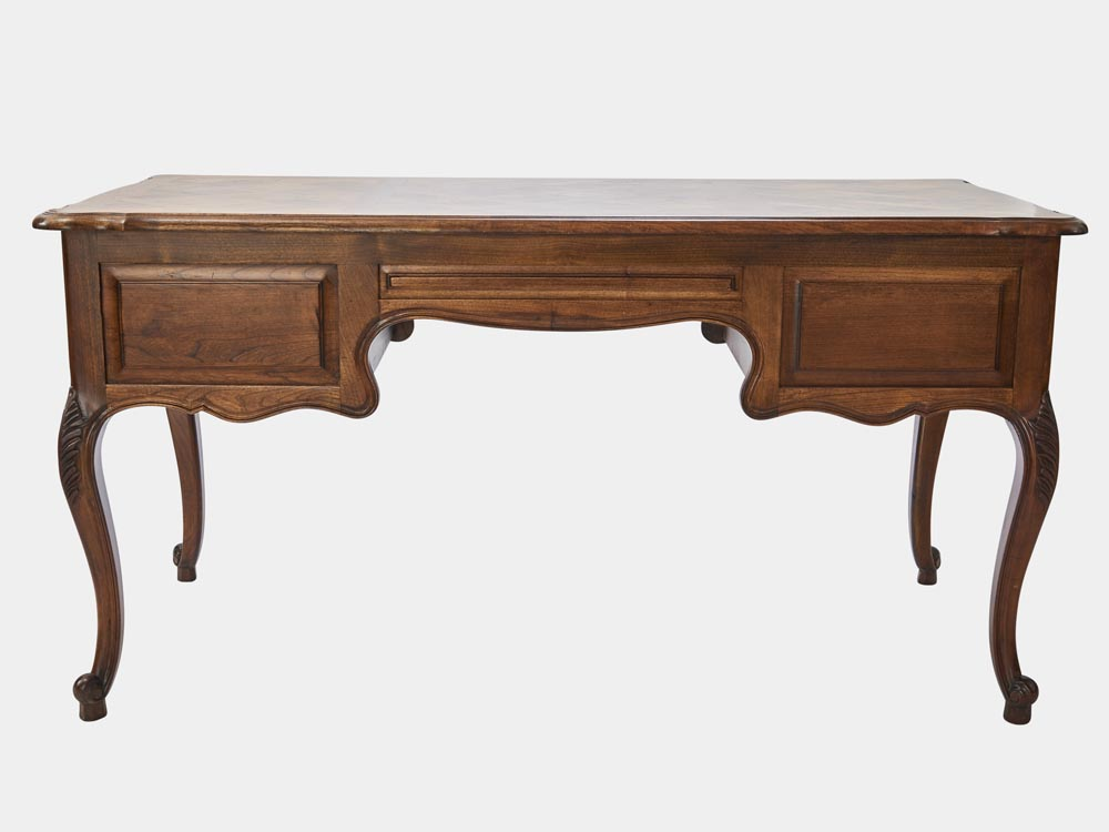 French Accent French Provincial Louis XV style desk in walnut with 5 drawers back