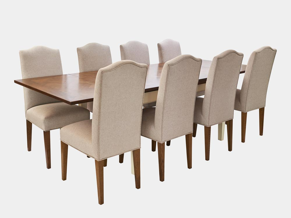 French Accent French country Provence extesion Dining Table in cherry wood with white base extended 8 chairs