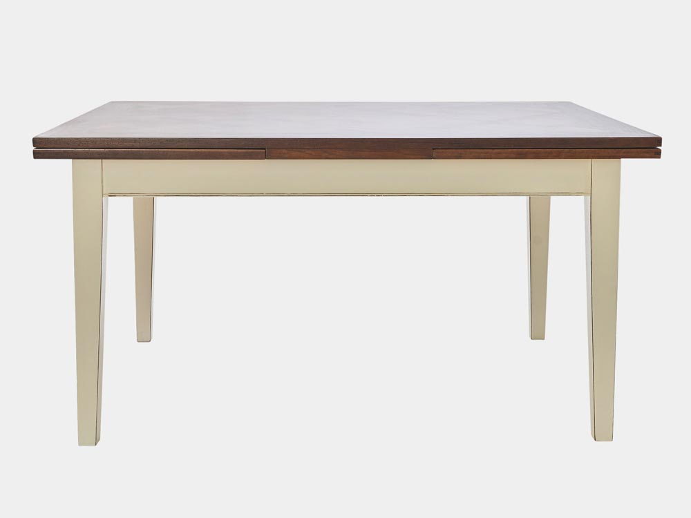 French Accent French country Provence extesion Dining Table in cherry wood with white base front