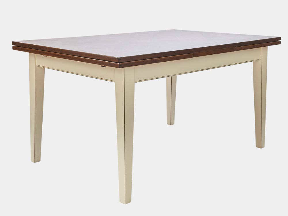 French Accent French country Provence extesion Dining Table in cherry wood with white base side 45