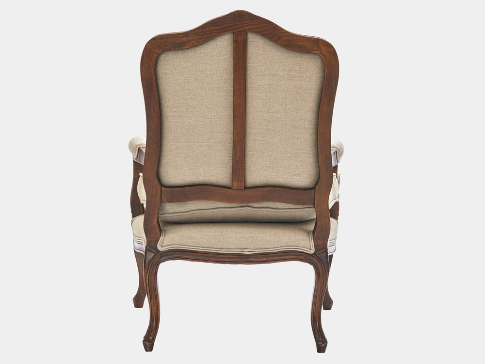 French Accent French provincial Louis XV style Bergere armchair antique walnut finish back