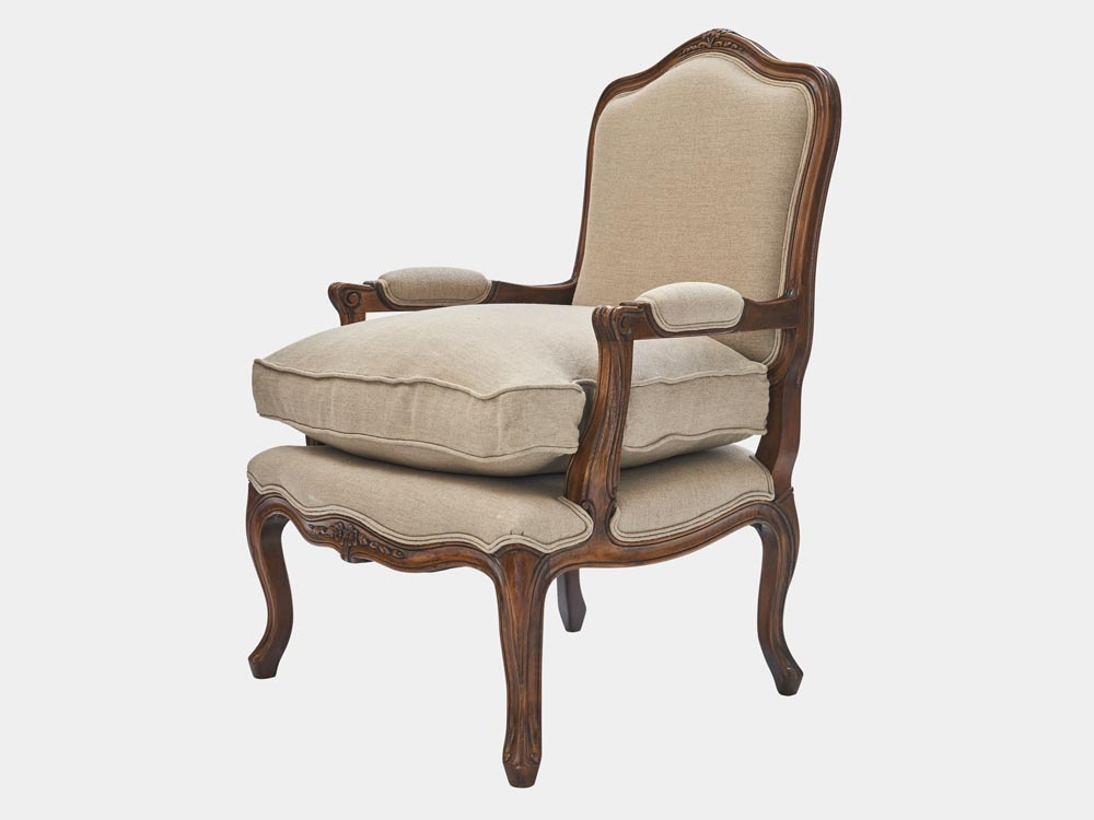French Accent French provincial Louis XV style Bergere armchair antique walnut finish side 45