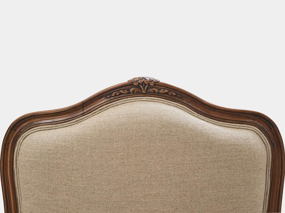 French Accent French provincial Louis XV style Bergere armchair antique walnut finish top carving