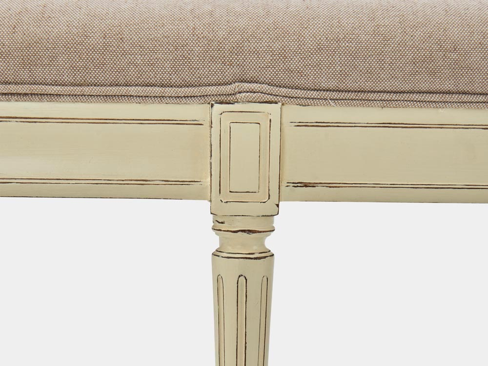 French Accent French provincial Louis XV style bed end bench in solid oak white finish detail leg