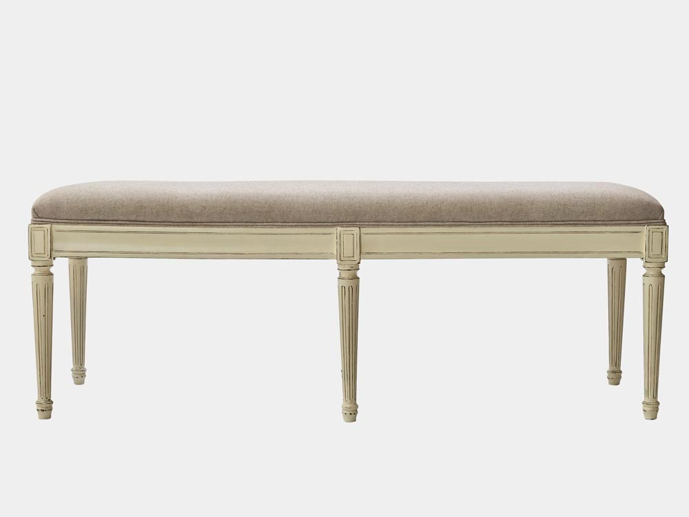 French Accent French provincial Louis XV style bed end bench in solid oak white finish front
