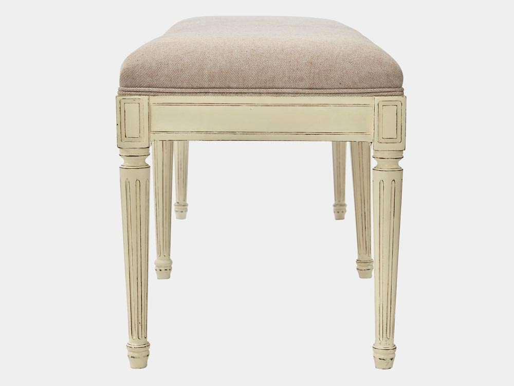 French Accent French provincial Louis XV style bed end bench in solid oak white finish side