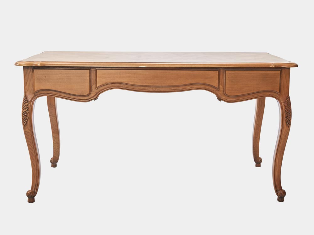 French Accent French provincial Louis XV style desk in light cherry wood with 3 drawers back