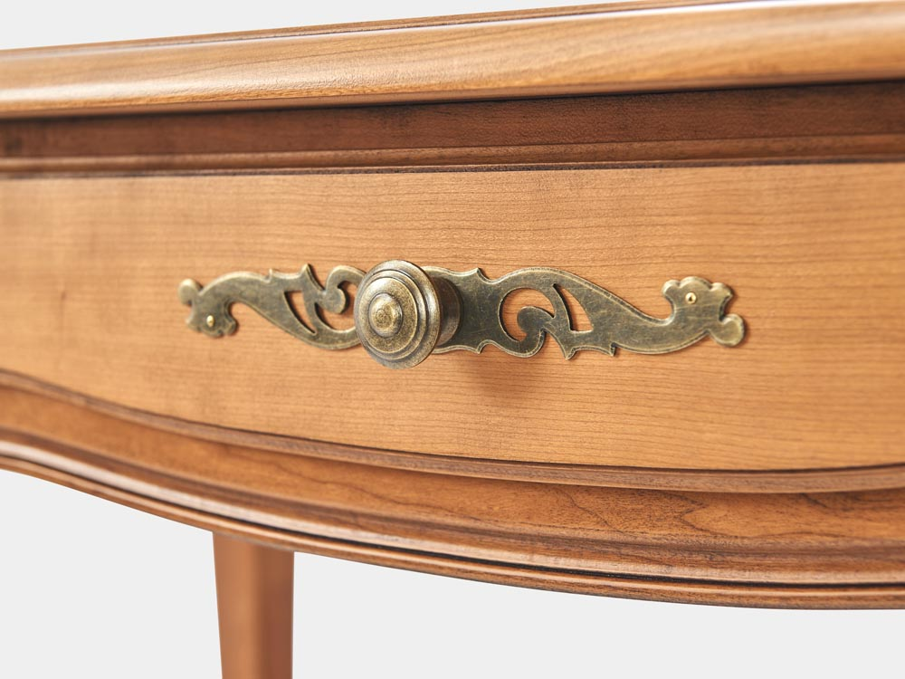 French Accent French provincial Louis XV style desk in light cherry wood with 3 drawers handle