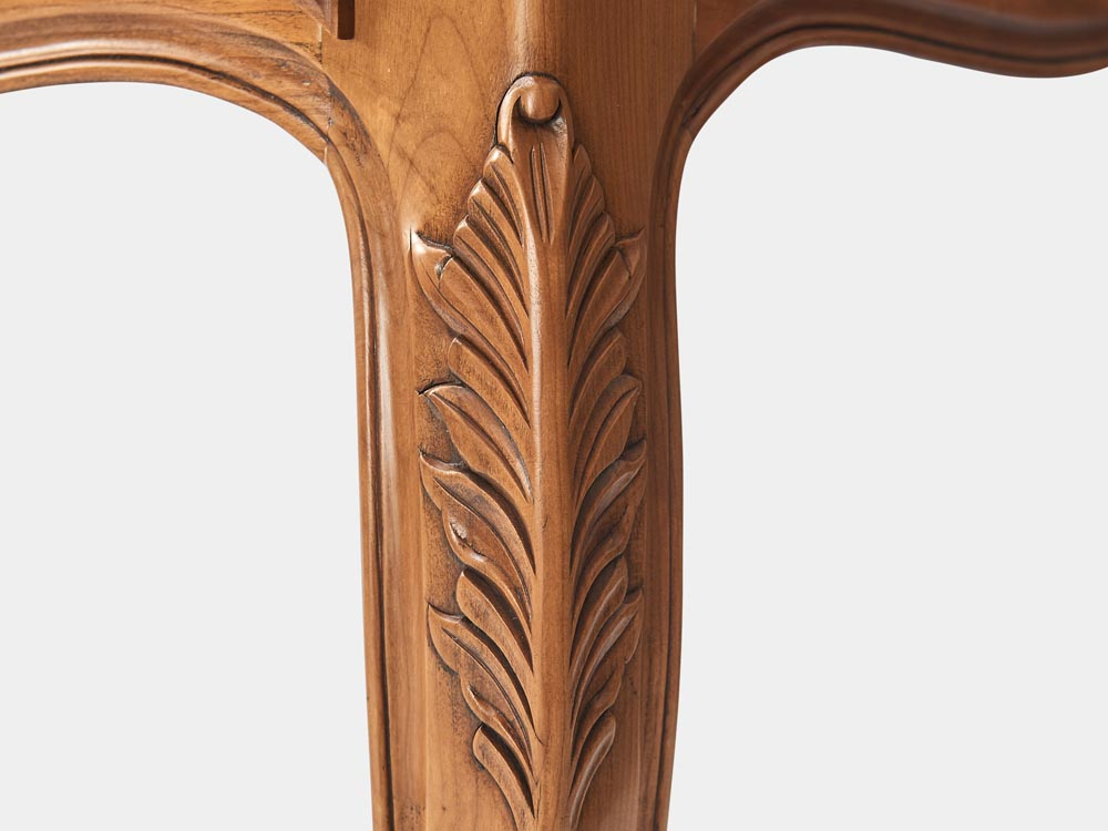French Accent French provincial Louis XV style desk in light cherry wood with 3 drawers leg carving