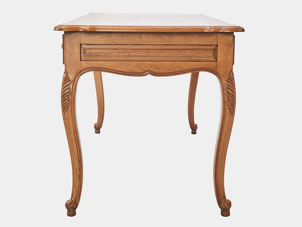 French Accent French provincial Louis XV style desk in light cherry wood with 3 drawers side