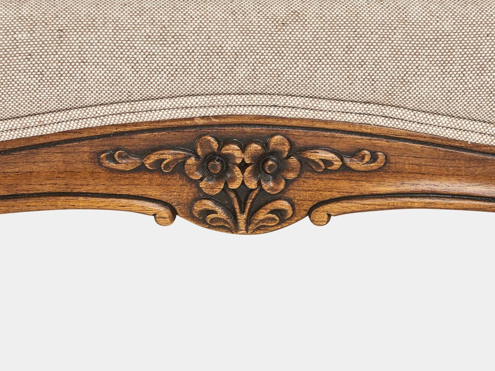 French Accent French provincial Louis XV style queen sleigh bed in walnut detail carving 2