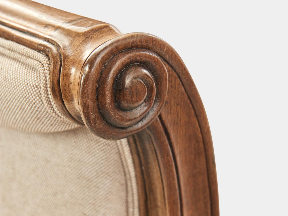 French Accent French provincial Louis XV style queen sleigh bed in walnut end detail