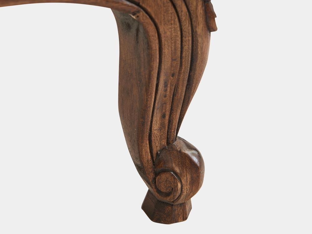 French Accent French provincial Louis XV style queen sleigh bed in walnut foot detail