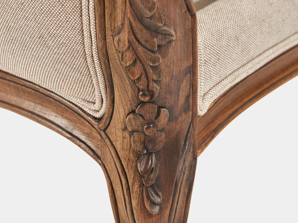 French Accent French provincial Louis XV style queen sleigh bed in walnut leg detail