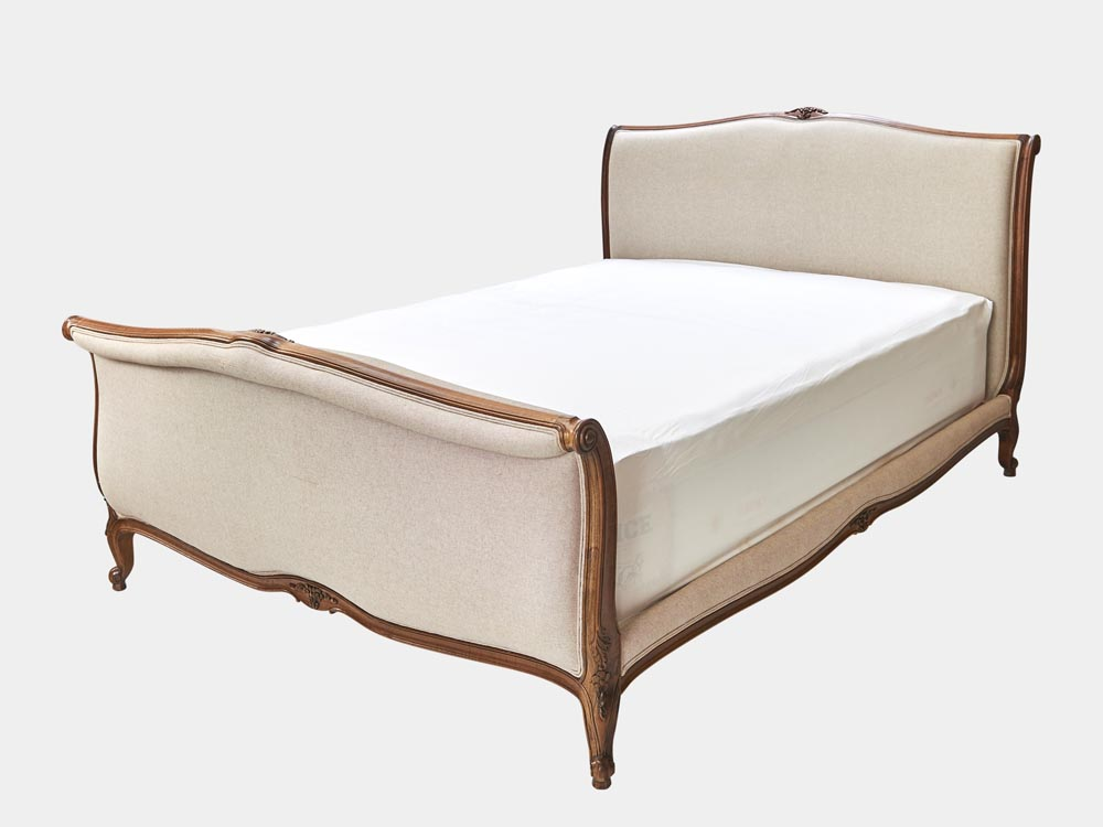 French Accent French provincial Louis XV style queen sleigh bed in walnut side 45