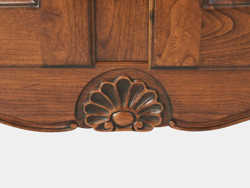 French Accent Louis XV style bookcase with 2 beveled glass doors detail 1