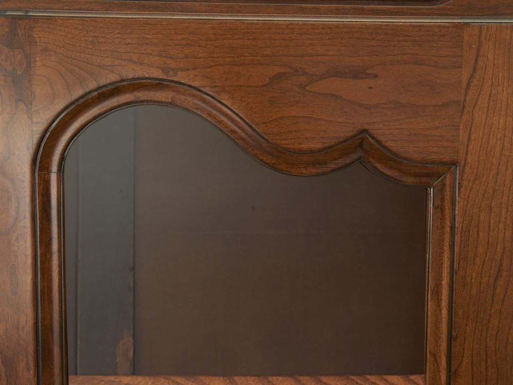 French Accent Louis XV style bookcase with 2 beveled glass doors detail glass