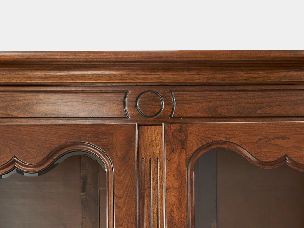French Accent Louis XV style bookcase with 2 beveled glass doors detail top