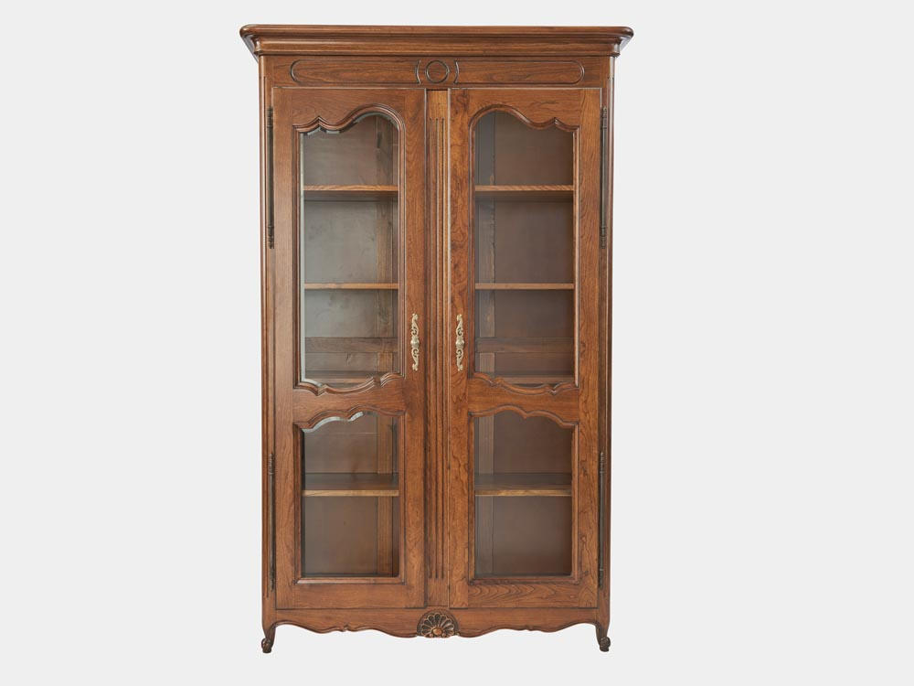 French Accent Louis XV style bookcase with 2 beveled glass doors front