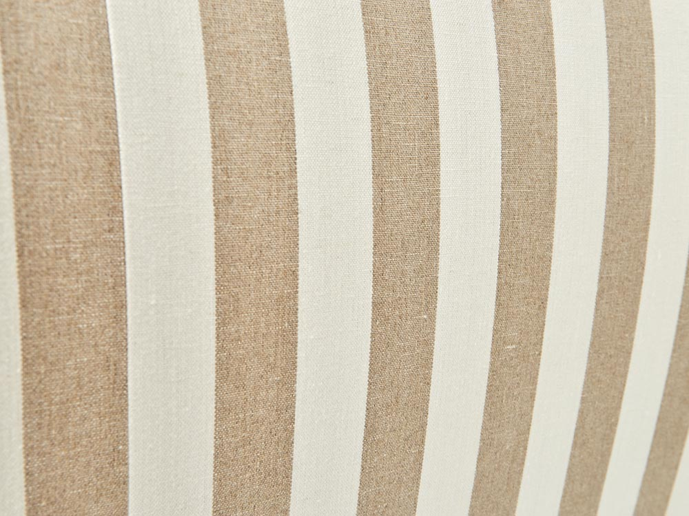 French provincial Louis XV style bed head in white frame striped fabric detail