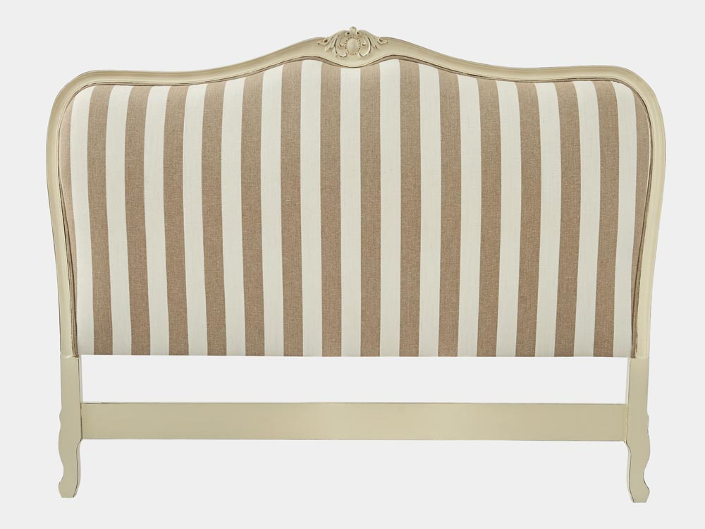 French provincial Louis XV style bed head in white frame striped fabric