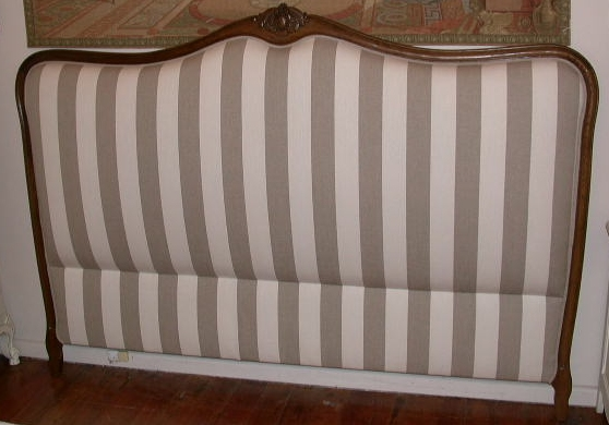 Louis XV Style King Size Bedhead in Walnut Finish with Stripe Fabric