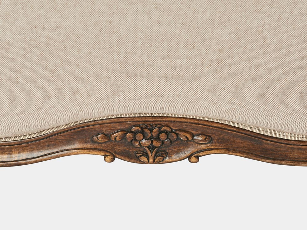 French provincial Louis XV style queen bed in solid timber frame and antique walnut finish detail