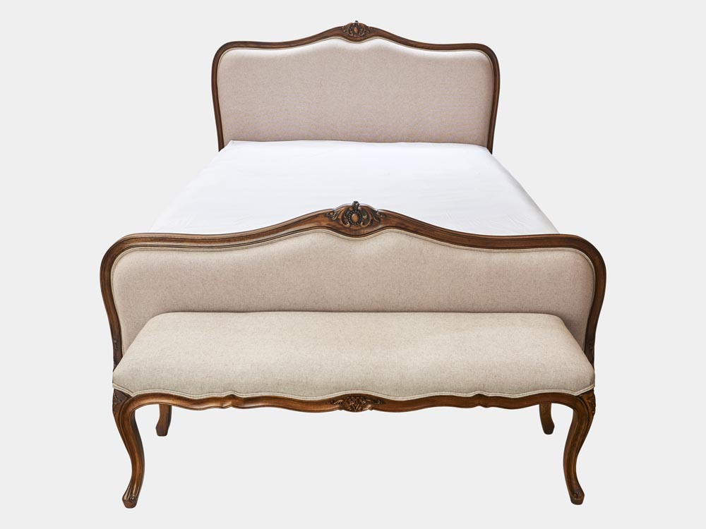 French provincial Louis XV style queen bed in solid timber frame and antique walnut finish front with bench