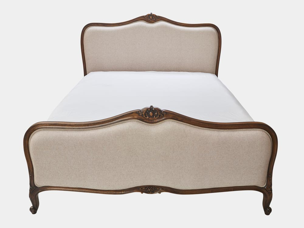 French provincial Louis XV style queen bed in solid timber frame and antique walnut finish front