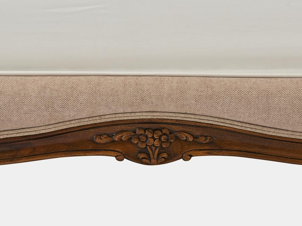 French provincial Louis XV style queen bed in solid timber frame and antique walnut finish side carving