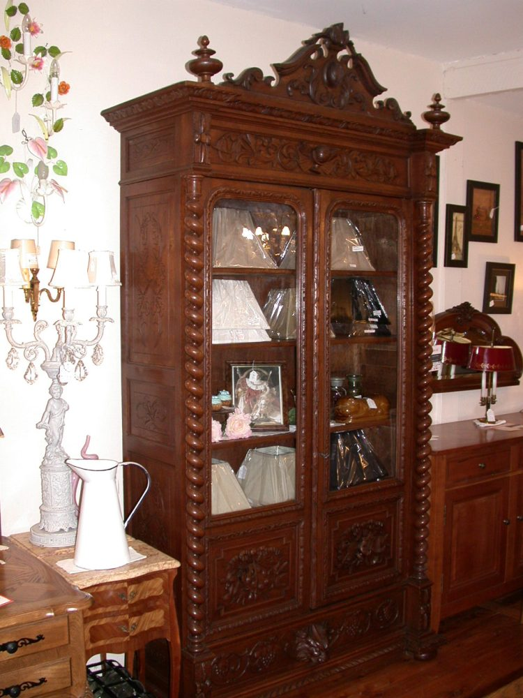 Antique French Bookcase Or Display Cabinet Henri Ii Style