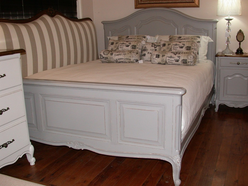 french provincial louis xv style queen size timber bed grey