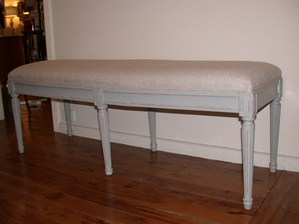 french provincial louis xvi style bed end bench grey