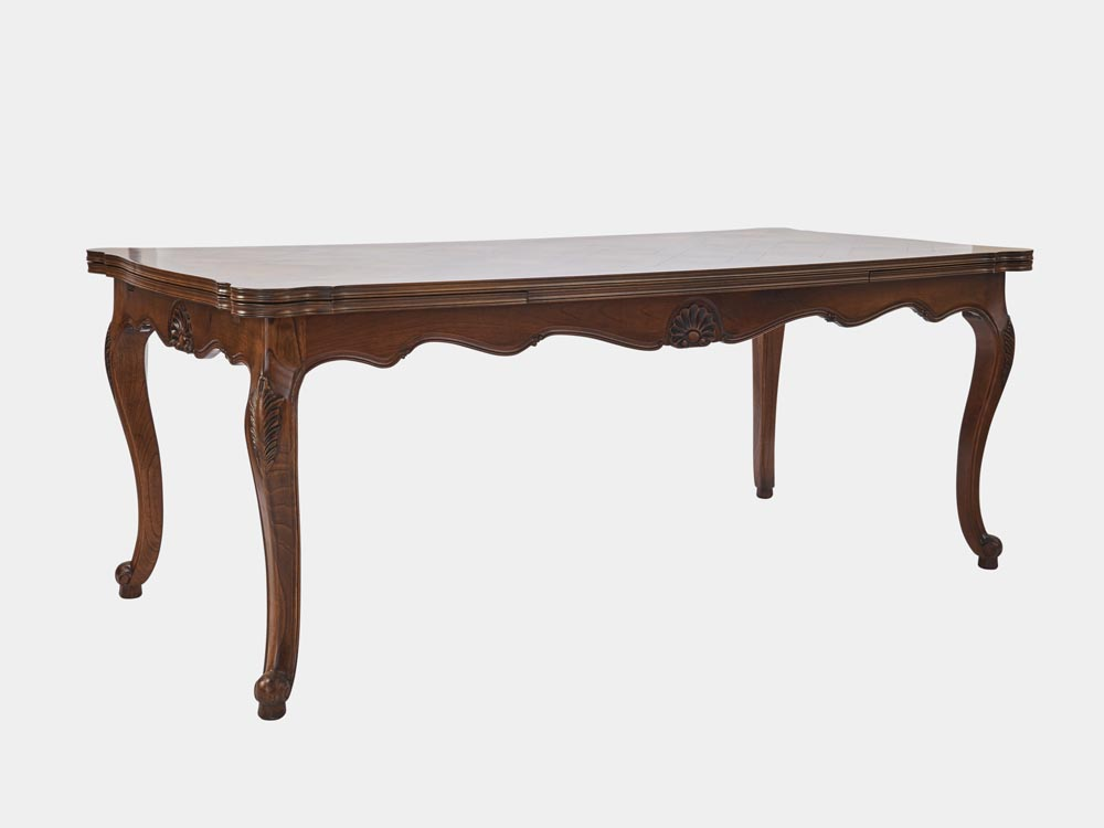 Louis xv style large extension dining table french accent for Styling a dining table