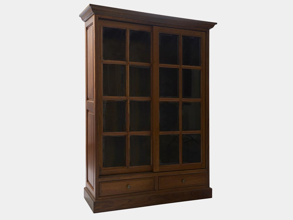 bookcase with bevelled glass sliding door french accent. Black Bedroom Furniture Sets. Home Design Ideas
